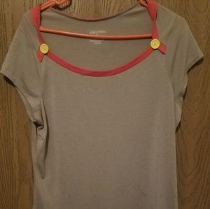 Long Grey Tee with Coral Trim